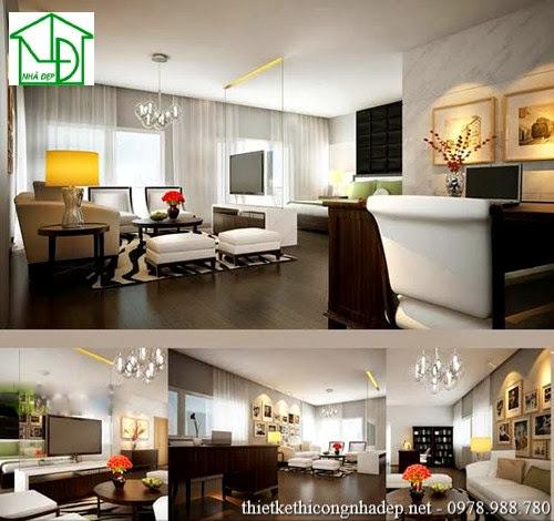 Phòng khách được kết hợp cùng với phòng làm việc