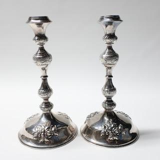 """12.5"""" 800 Silver Austrian Repoussé Candlestick Pair"""