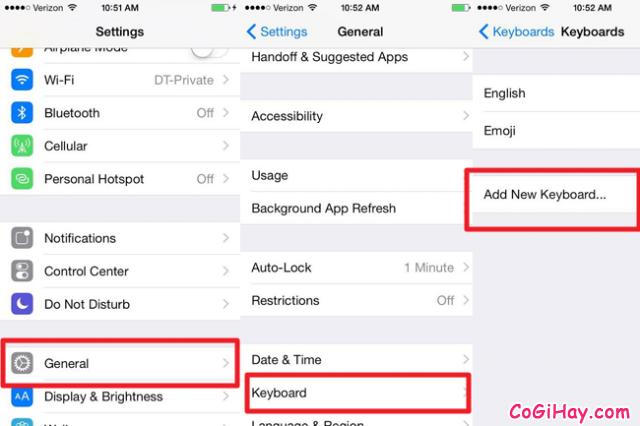 thêm keyboard mới cho iPhone