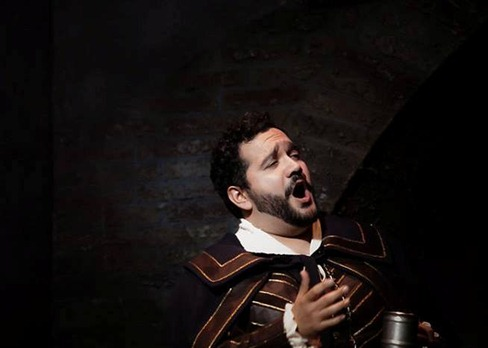 IN PERFORMANCE: Tenor RENÉ BARBERA as il Duca di Mantova in Piedmont Opera's production of Giuseppe Verdi's RIGOLETTO, October 2015 [Photo © by Traci Arney Photography; used with permission]