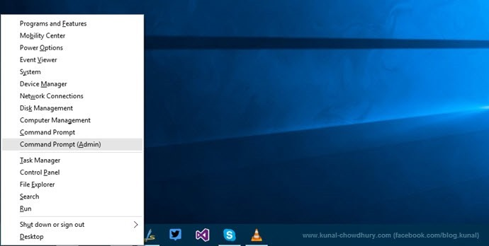 Open command prompt as administrator in Windows 10 (www.kunal-chowdhury.com)