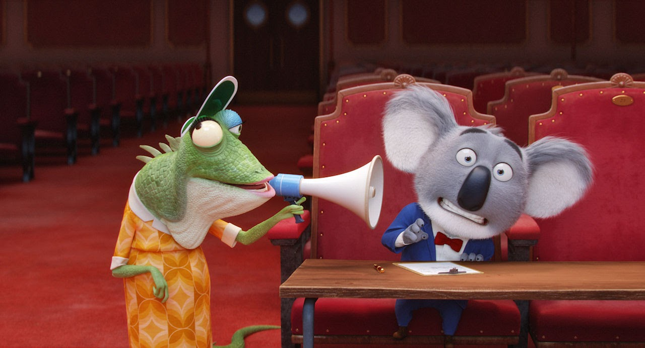 Elderly lizard Miss Crawly (voiced by Garth Jennings) and Koala Buster Moon (voiced by Matthew McConaughey) in SING. (Photo courtesy of Illumination Entertainment and Universal Pictures).