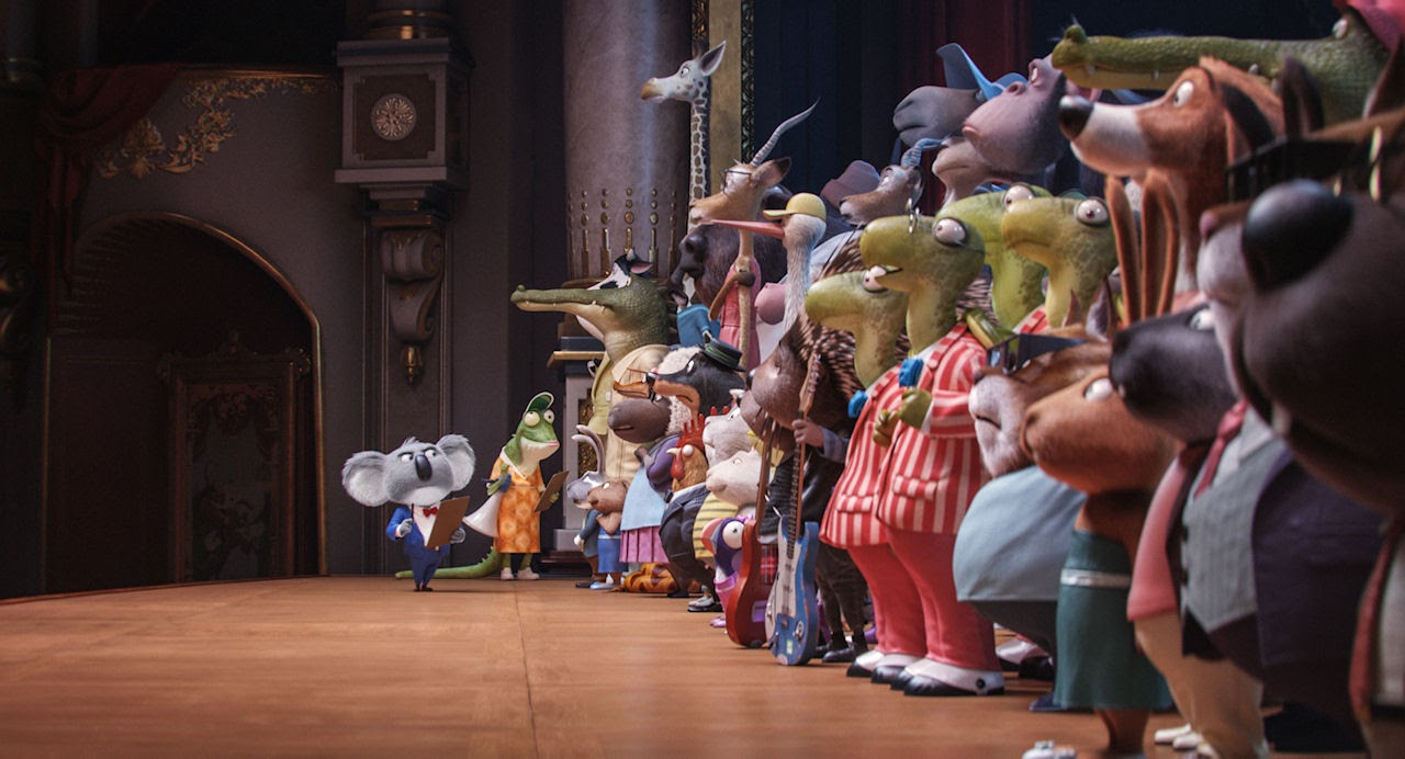 Koala Buster Moon (voiced by Matthew McConaughey) and elderly lizard Miss Crawly (voiced by Garth Jennings) in SING. (Photo courtesy of Illumination Entertainment and Universal Pictures).