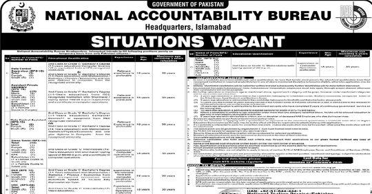 NAB Jobs 2021 Advertisement National Accountability Bureau Jobs 2021