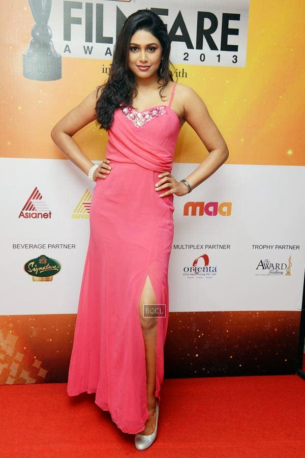 Manisha Yadhav at the 61st Idea Filmfare Awards South, held at Jawaharlal Nehru Stadium in Chennai, on July 12, 2014.
