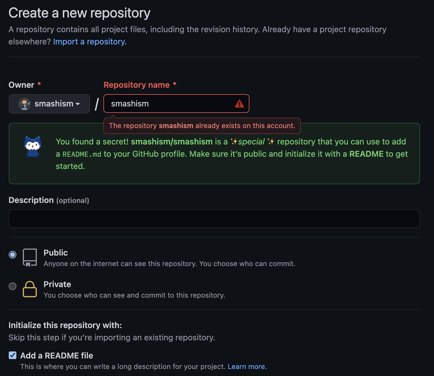 Screenshot of GitHub.com/new where a profile has been created using the account username