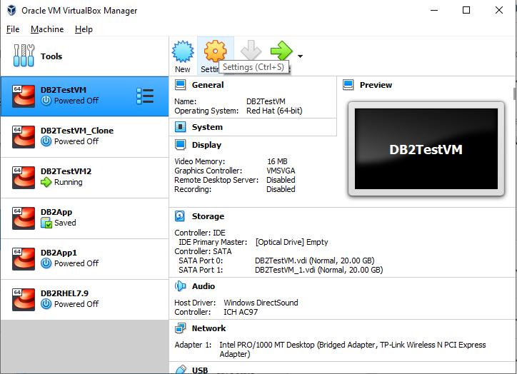 Oracle Virtual Box VM Setting Option