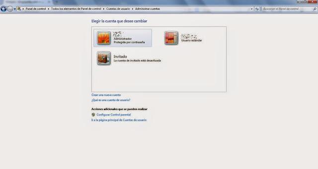 Windows 7, cuentas de usuarios