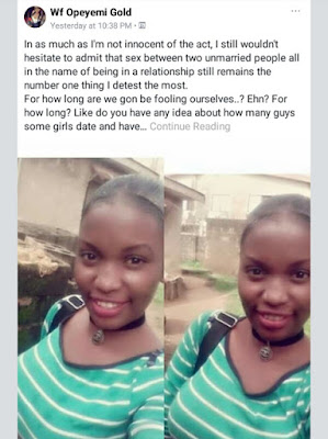 """PITY YOUR FUTURE HUSBAND. DON'T TURN THAT SMALL TOWN TO AN EXPRESS ROAD."" YOUNG NIGERIAN LADY GOES ON FB RANT ABOUT PREMARITAL SEX"
