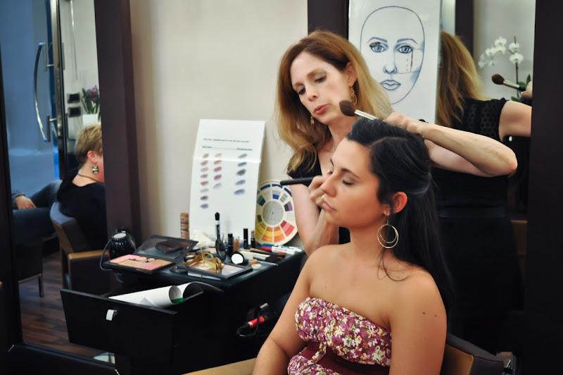 Makeup artist Penny Sadler teaching camera-ready makeup in Naples, Italy