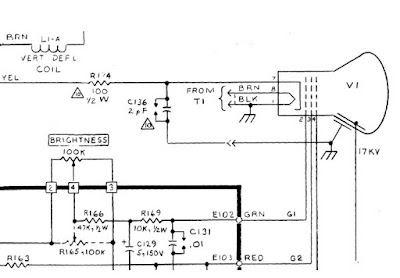 Detail of the schematic diagram for the Alto's monitor, showing the CRT.