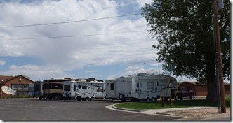 RV parking behind post office, Monticello, Utah