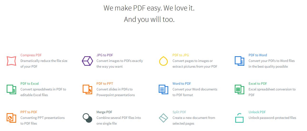 SmallPDF (Tüm pdf işlemleri tek adreste)