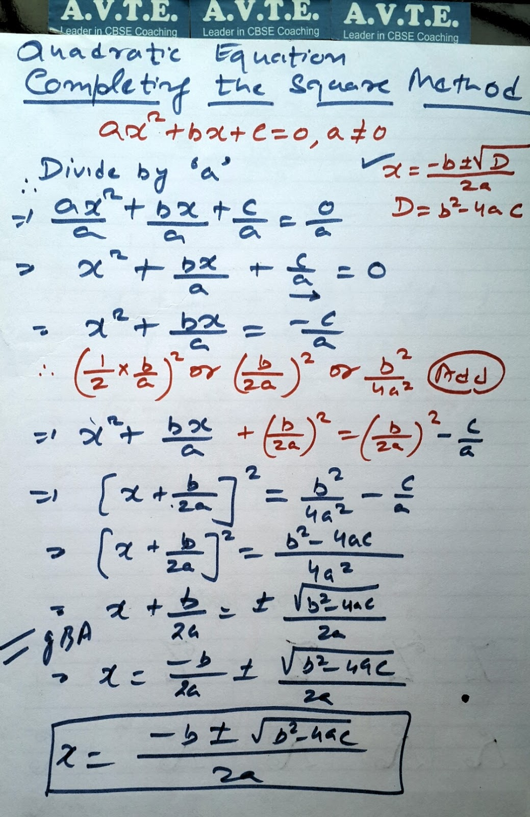Completing The Square Method Of Quadratic Equation With