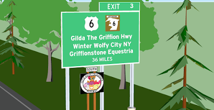 Photo: Sign for US 6 (Now US 406) exit on the Cutie Mark Crusaders State Parkway SB in Sunset Shimmer Town, NY - Jlong Cities Project