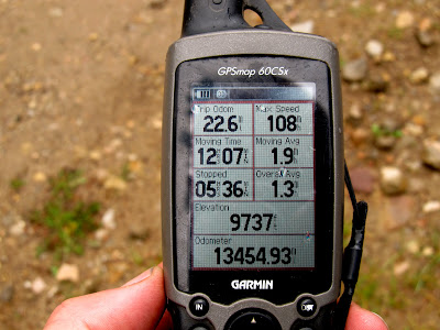 Shot of the GPS back at the trailhead