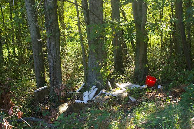 Décharge sauvage en Forêt de Dreux à moins de 150 m d'une déchetterie ! Les Hautes-Lisières (Rouvres, 28), 29 septembre 2011. Photo : J.-M. Gayman