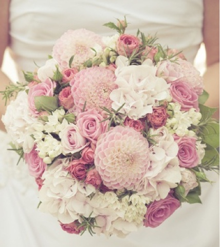 Wedding Bouquet and Pink Flowers