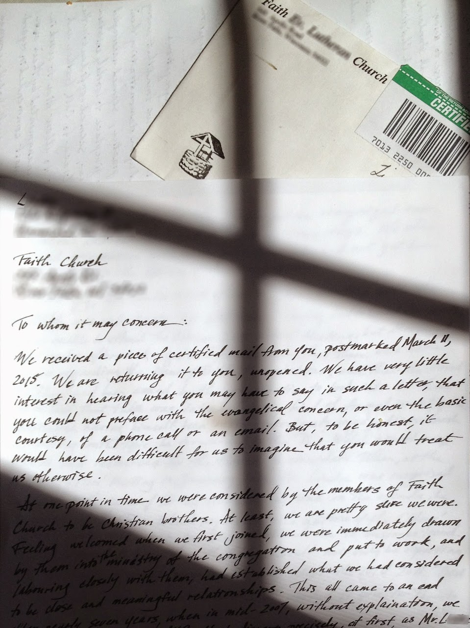 What do you do with a Certified Letter? Here is one idea…