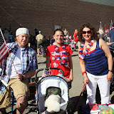 Angela Cini, Historic Homes Tour Chair, (right) and friends get ready for the parade.