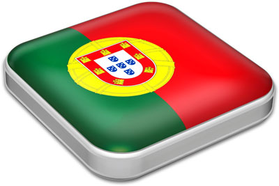 Flag of Portugal with metallic square frame