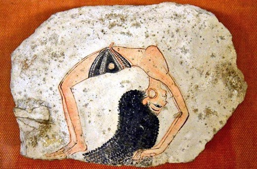 emale dancer, ostracon from Deir el-Medina, Ancient Egypt, New Kingdom, Dynasty XIX-XX (1292–1070 BCE), Museo Egizio, Turin.