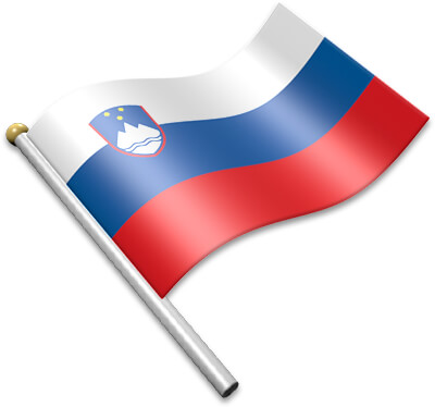 The Slovenian flag on a flagpole clipart image
