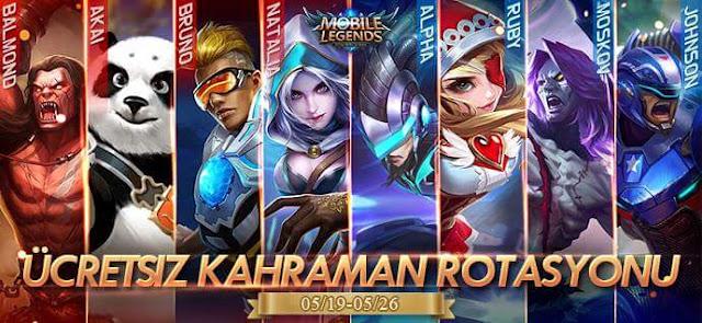 Mobile Legends 19 Mayıs Ücretsiz Kahramanlar Hangileri