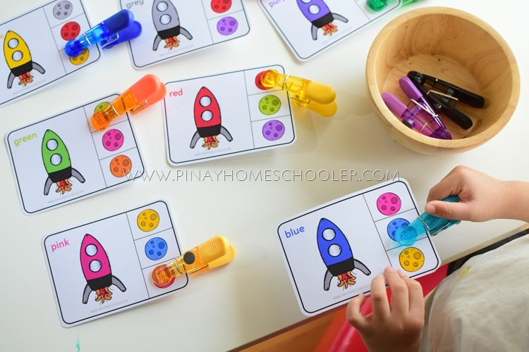 Space Themed Color Matching Activity