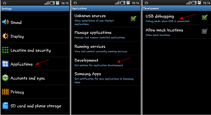 Galaxy Ace S5830i usb debugging