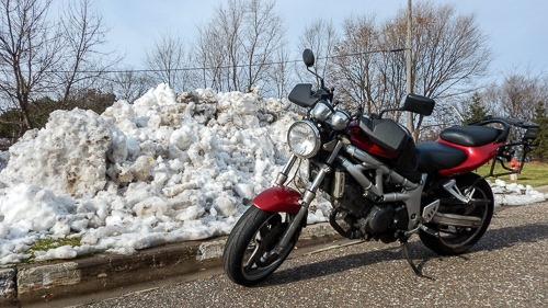 SV650 Next to Snow Bank Winter Motorcycle Riding