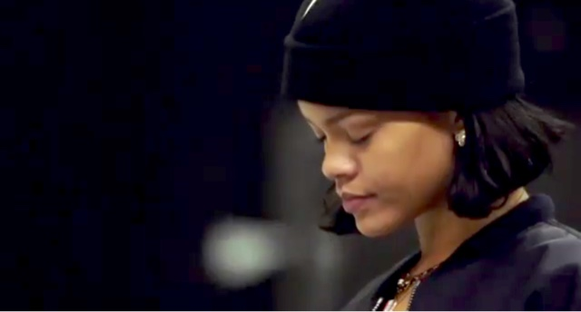 Rihanna in Trapstar London and Pantheone Beanie