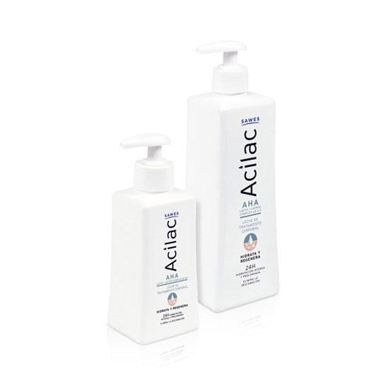 dos tamaños de la crema corporal hidratante y regeneradora de Acilac de Sawes