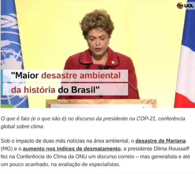BRASIL NA COP 21: DESTAQUE PARA O DISCURSO DA PRESIDENTE