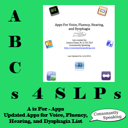 ABCs 4 SLPs Updated Voice, Fluency Hearing, and Dysphagia App List Icon