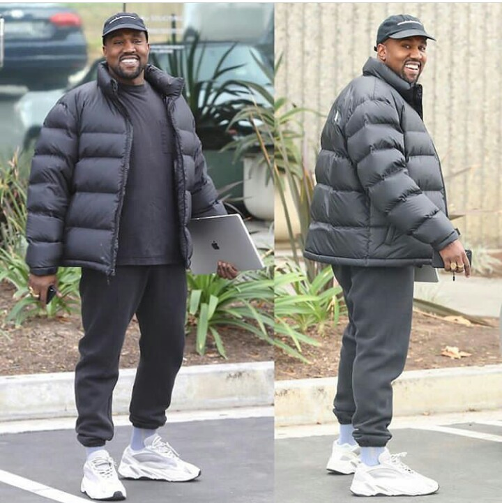 7c021c09bf5 Kanye West shows off beaming smile after his daughter s birth at his ...
