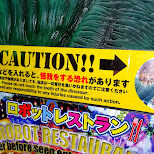 please do not touch the tooth of the dinosaur in Kabukicho, Tokyo, Japan