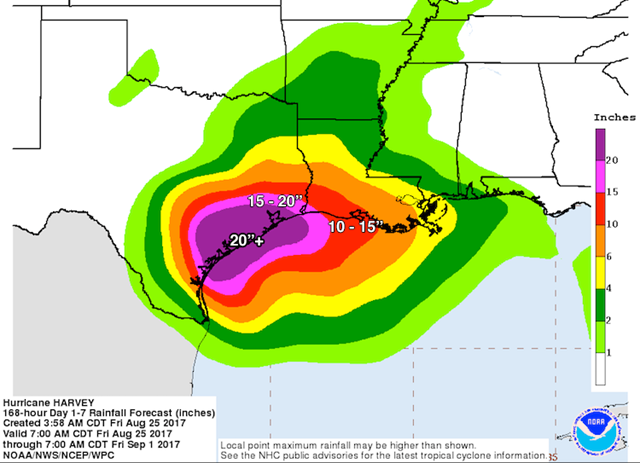 Rainfall forecast for the period from Friday morning, 25 August 2017, through Wednesday morning, 30 August 2017. Localized amounts may be even higher, and some shifts to the contours of this area can be expected depending on Harvey's eventual track. According to NOAA's David Roth, this is the most rainfall ever predicted by NOAA's Weather Prediction Center (WPC), going back several decades. Graphic: NOAA / NWS WPC and NHC