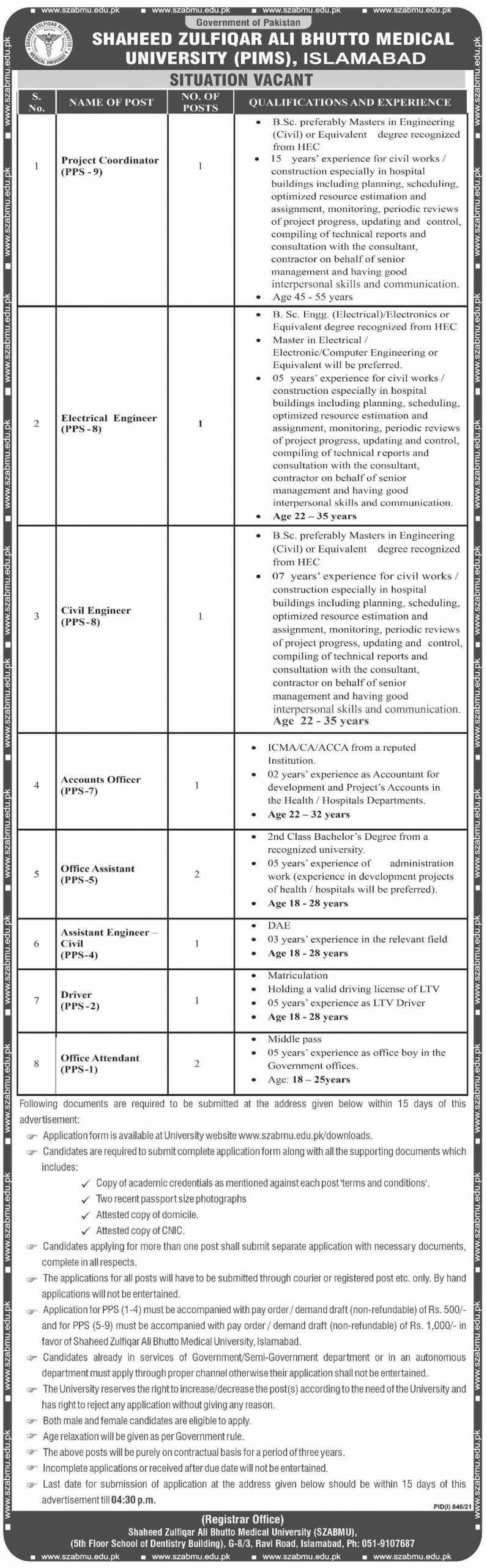 PIMS Jobs 2021 – University Jobs – Download Application Form