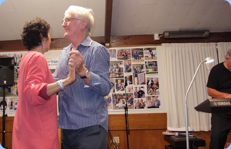 Club President, Gordon Sutherland, had the privilege of dancing with Jill Fingers for one of the numbers. Photo courtesy of Dennis Lyons.