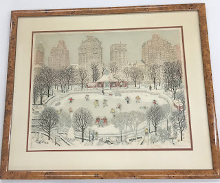 "Cuca Romley's Skating in Central Park"" Lithograph"