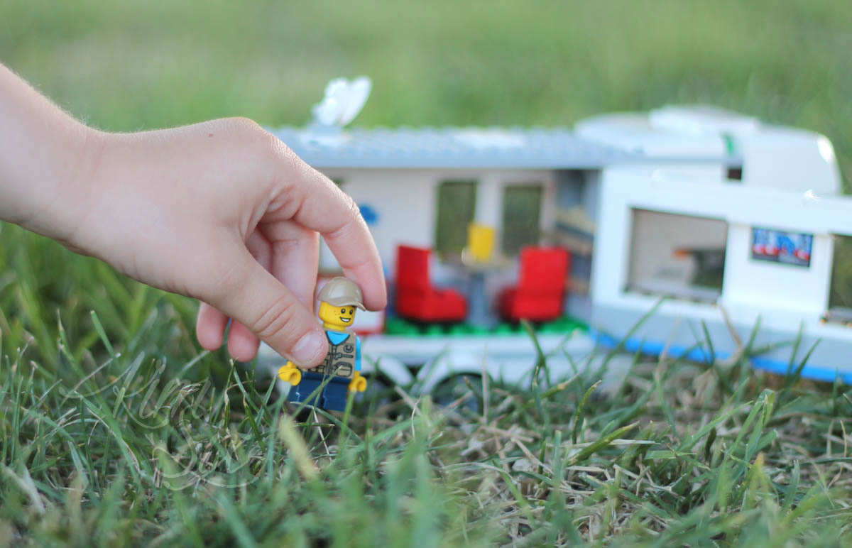 Playing outside in the grass with LEGO