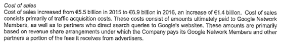 Google Ireland Cost of Sales note