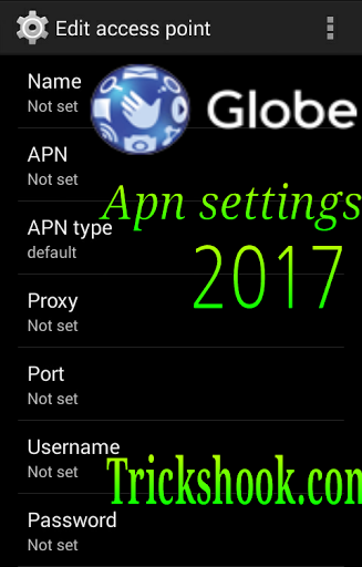 Globe apn settings: Manual Access point Names internet setting 2017