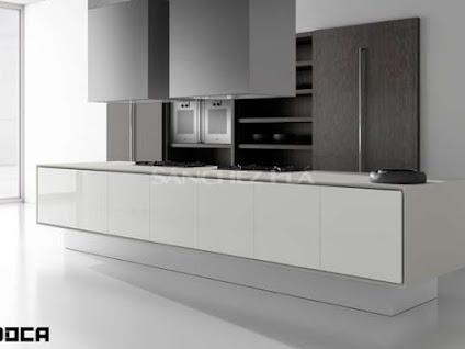 Muebles de cocina Doca. Puertas Ecopal blanco C-54 acrílicas macizas ...