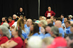 Northwest residents attend the first of three public hearings at the Cowlitz County Regional Event Center in Longview, Wash., on May 24, 2016, concerning the proposed Millennium Bulk Terminals coal export terminal. (Photo by: Alex Milan Tracy)