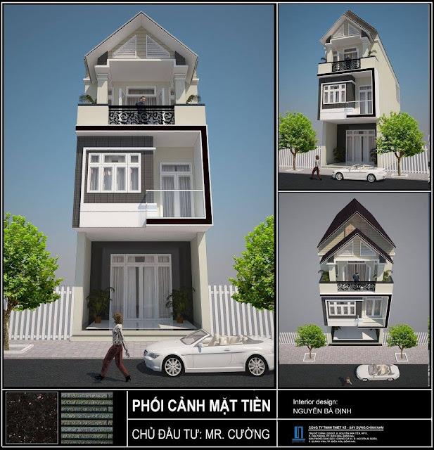 Thiết kế nhà phố anh Cường  ở Biên Hoà - Đồng Nai