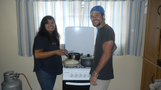 Dinah and Daniel at our little stove, Christmas Mochudi 2011
