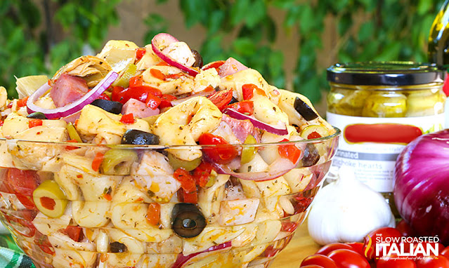 Antipasto Salad with Pasta in a glass bowl