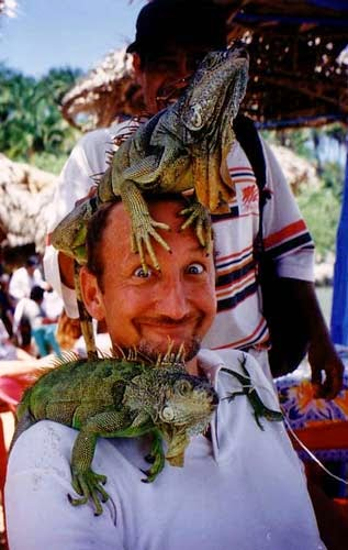 Mismaloya, Mexico with reptilian friends while filming 'Perfect Target'.